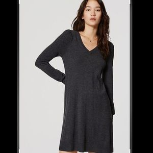 Loft Dark Grey V-Neck Sweater Dress